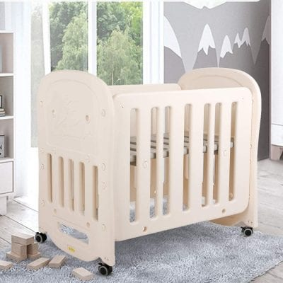 HOMFY Mini Crib for Baby Girls and Boys - Heights Adjustable