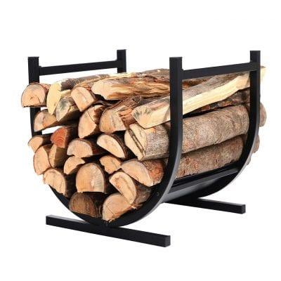 PHI VILLA 17 Inches Indoor/Outdoor Small Decorative Firewood Rack