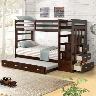 Harper & Bright Designs Bunk Bed, Espresso Finish