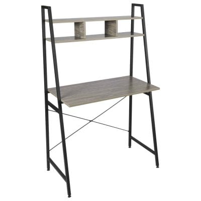 IRONCK Small Wood and Metal Bookcase Ladder Desk