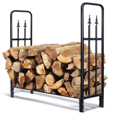 Goplus Fireplace Storage Log Rack Indoor Outdoor Log Holder