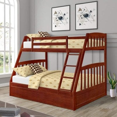Harper & Bright Designs Solid Wood Bunk Beds, Espresso