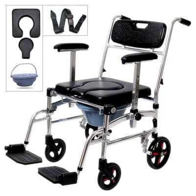 Nurth 4-in-1 Shower Commode Mobile Wheelchair