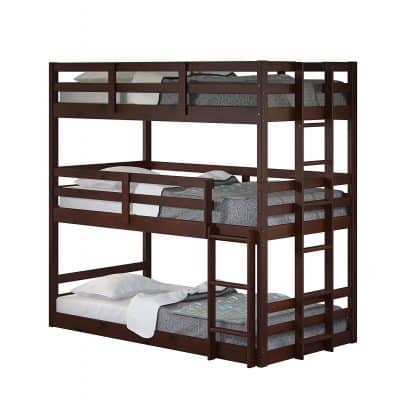 Donco Kids Triple Bunk Bed, Dark Cappuccino