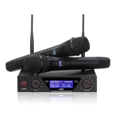 NASUM UHF Dual Channel Professional Handheld Wireless Microphone