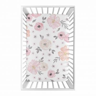 Sweet Jojo Designs Pink and Grey Baby Girl Mini Crib Sheet