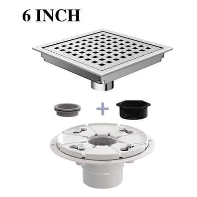 USHOWER 6 Inch Square Shower Drain