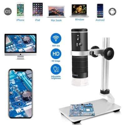 6. Jiusion WiFi USB Microscope with 8 LED Mini Camera and a Portable Case
