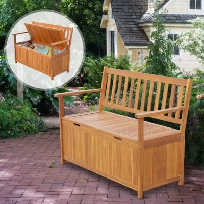 """Out sunny 47"""" Wooden Outdoor Storage Bench"""