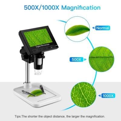 "8. Elikliv 4.3"" LCD USB Microscope, 8 Adjustable LED Lights"