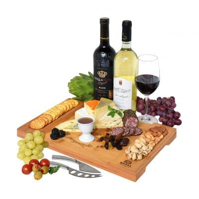 Unique Bamboo Cheese Board, Charcuterie platter & serving tray