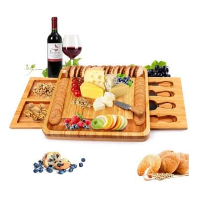 Zicheng Bamboo Cheese Board and Knife Set