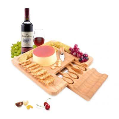 PURENJOY Bamboo Cheese Board Set, Charcuterie Platter & Serving