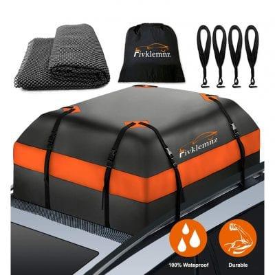 FIVKLEMNZ 15 Cubic Feet Cargo Carrier Car Roof Bag with Anti-Slip Mat