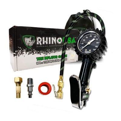 Rhino USA Tire Inflator with Pressure Gauge