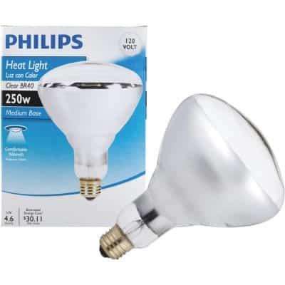 Phillips Heat Lamp 250W Flood Light Bulb, 4 Pack