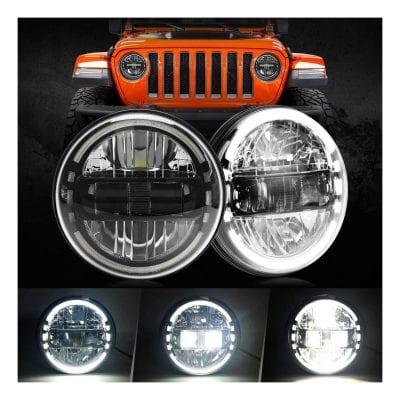 "COWONE 7"" inch Round LED Headlight Headlamps"