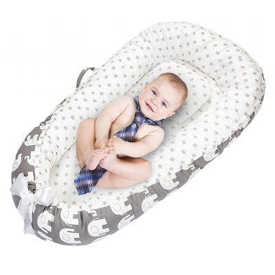 MinNann100% Cotton and Breathable Newborn Baby Lounger