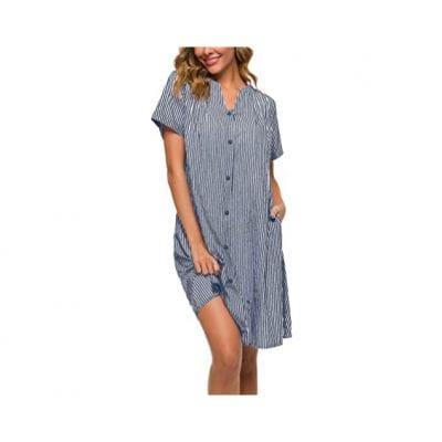 YOZLY Women Cotton Duster Robe Button-down Nightgown