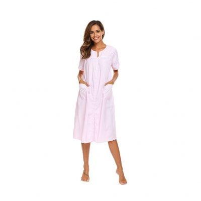Ekouaer Women's Striped Sleepwear Dress Nightgown S-XXL