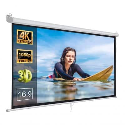 "Zeny 100"" HD Projection Pull Down Projector Screen"
