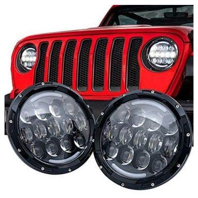 SPL 7'' Inch Round Black Led Headlights White/amber