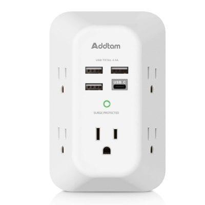 Addtam Wall Surge Protector w/ 4 USB Charging Ports