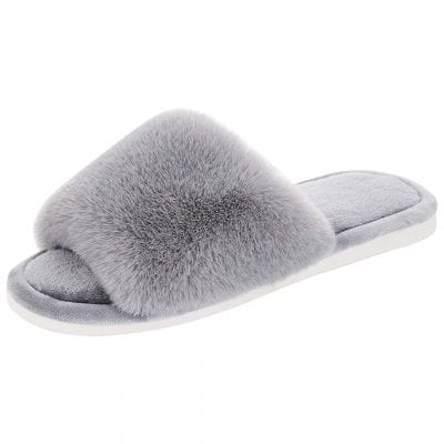 Fivepeas Women's Fuzzy Memory Foam Slide Slippers