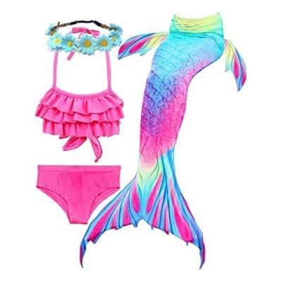 Camlinbo 3Pcs Girls Swimsuits Mermaid Tail