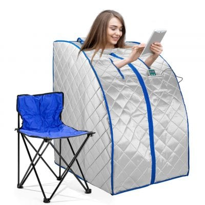 idealsauna Infrared FAR IR Negative Ion Personal Spa Sauna with Chair, Heating Foot Pad and Air Ionizer