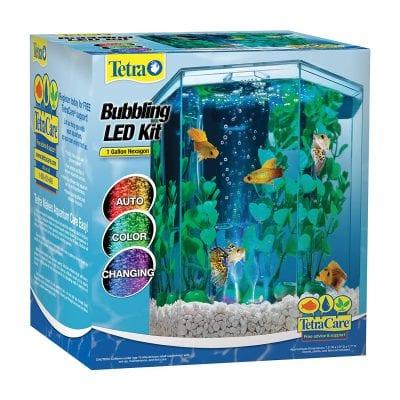 Tetra Bubbling LED Color-Changing Hexagon Shape 1 Gallon aquarium Kit