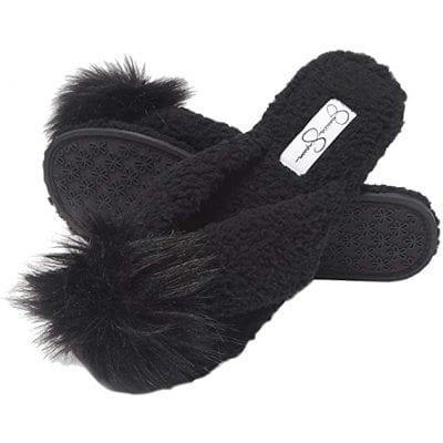 Jessica Simpson Women's Fluffy Thong House Slide Slippers