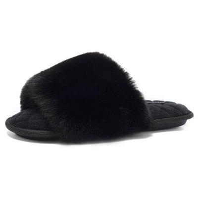 FANTURE Women's Furry Faux Slide Slippers Memory Foam Slippers