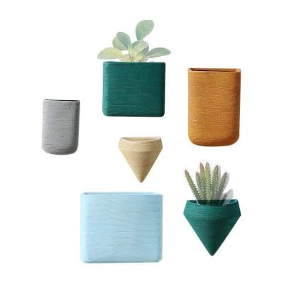 Purzest Ceramic Hanging Planters Geometric Wall Decor Container