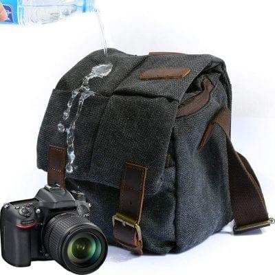 peacechaos DSLR SLR Waterproof Canvas Leather Messenger Bag