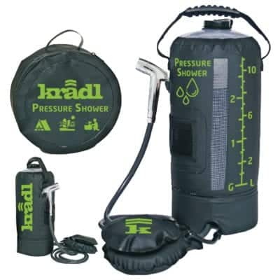 Kradl Portable 2.9 Gallon Pressure Shower with Sprayer and Foot Pump