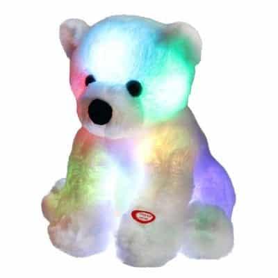 Bstaofy Glow Polar Bear LED Stuffed Night Lights 9.5 Inches