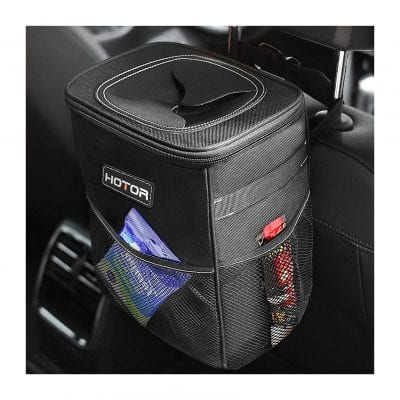 HOTOR Car Trash Can with Lid and Storage Pockets Multipurpose Trash Bin for Car