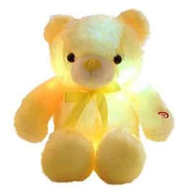 Ooo Color Luminous LED Plush Teddy Bear 12 Inches, Yellow