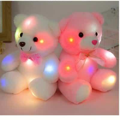 Bowlin Glow LED Teddy Bear Colorful Night 8 Inches