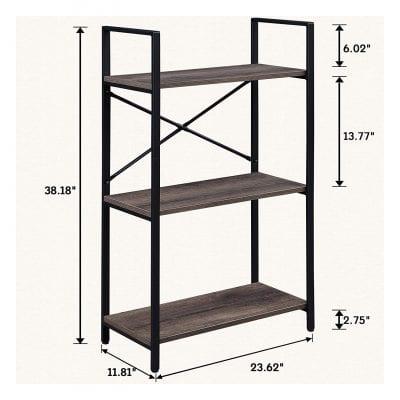 OIAHOMY Industrial 3-Tier Small Bookshelf