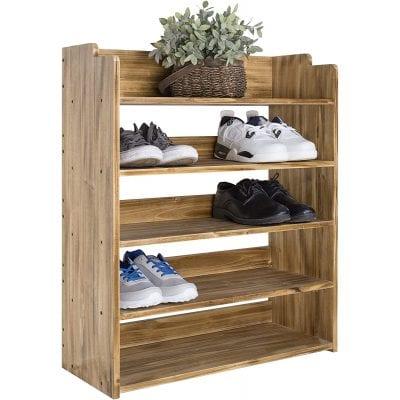MyGift 5 Tier Entryway Wooden Shoe Rack