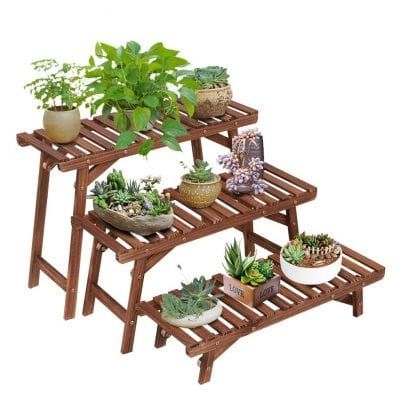 Ufine Freestanding 3-Tier Wooden Plant Stand