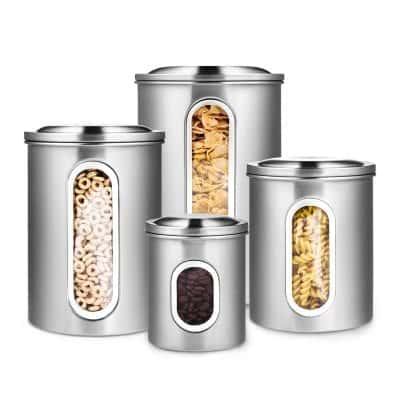 Deppon Stainless steel Airtight Canister Set with Plexi-Glass Window
