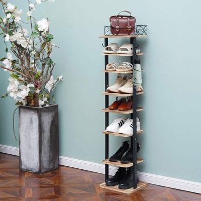 X-cosrack 8 Tier Wooden Shoe Rack