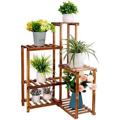 unho 6 Tier Wooden Plant Corner Stand